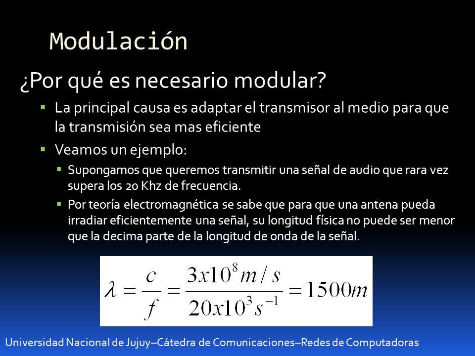 Modulación Universidad Nacional de Jujuy–Cátedra de Comunicaciones–Redes de Computadoras ¿Por qué es necesario modular? La principal causa es adaptar