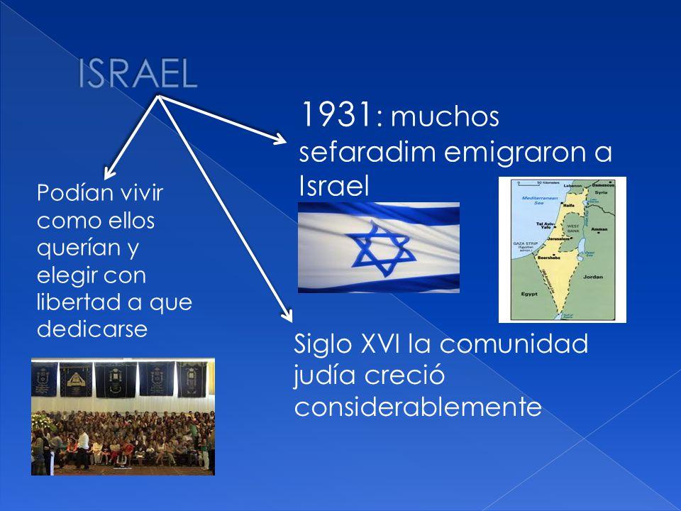 1931 : muchos sefaradim emigraron a Israel Siglo XVI la comunidad judía creció considerablemente Podían vivir como ellos querían y elegir con libertad