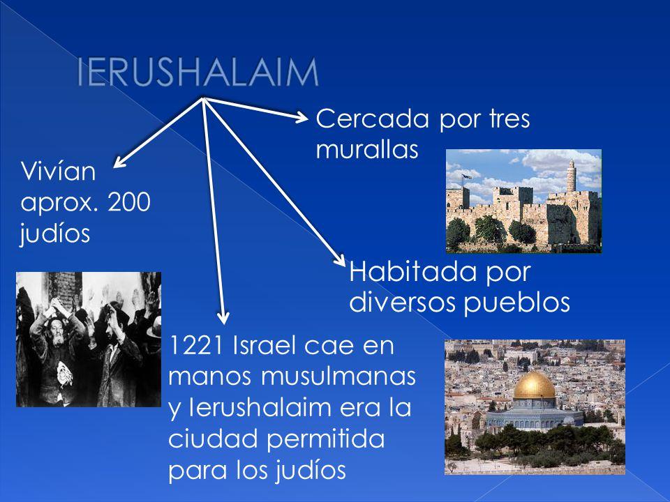 Habitada por diversos pueblos Cercada por tres murallas Vivían aprox. 200 judíos 1221 Israel cae en manos musulmanas y Ierushalaim era la ciudad permi