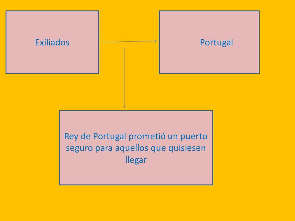 ExiliadosPortugal Rey de Portugal prometió un puerto seguro para aquellos que quisiesen llegar