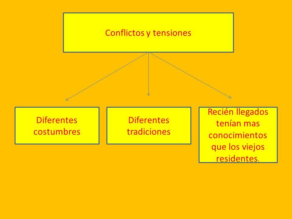 Conflictos y tensiones Diferentes costumbres Diferentes tradiciones Recién llegados tenían mas conocimientos que los viejos residentes.