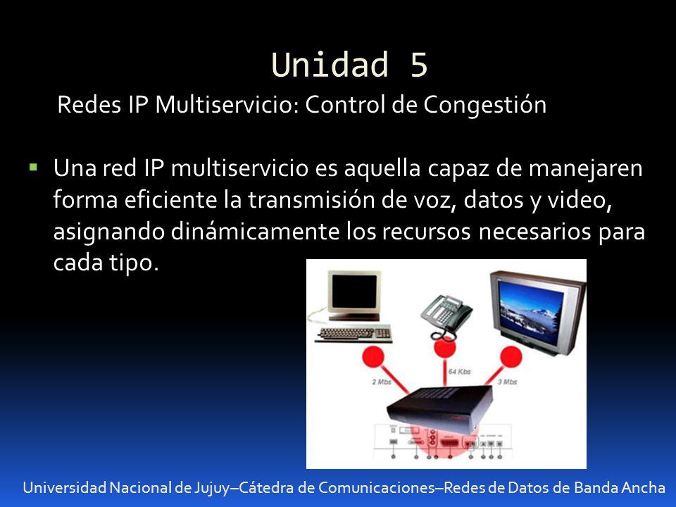 Unidad 5 Universidad Nacional de Jujuy–Cátedra de Comunicaciones–Redes de Datos de Banda Ancha Redes IP Multiservicio: Control de Congestión Una red I