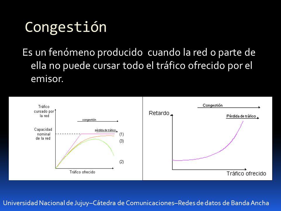 Congestión Universidad Nacional de Jujuy–Cátedra de Comunicaciones–Redes de datos de Banda Ancha Es un fenómeno producido cuando la red o parte de ella no puede cursar todo el tráfico ofrecido por el emisor.