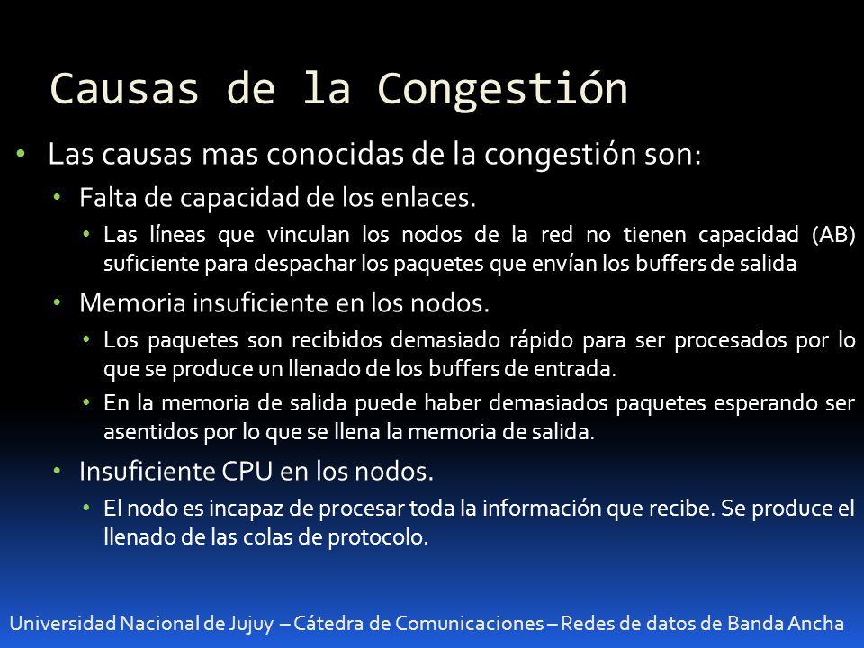 Causas de la Congestión Universidad Nacional de Jujuy – Cátedra de Comunicaciones – Redes de datos de Banda Ancha Las causas mas conocidas de la congestión son: Falta de capacidad de los enlaces.
