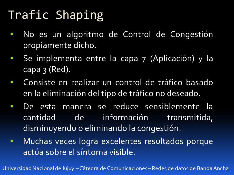 Algoritmos avanzados de control Universidad Nacional de Jujuy – Cátedra de Comunicaciones – Redes de datos de Banda Ancha RED (Random Early Detection) Control de Congestión en capa 3 Es un algoritmo de administración de colas en buffers.