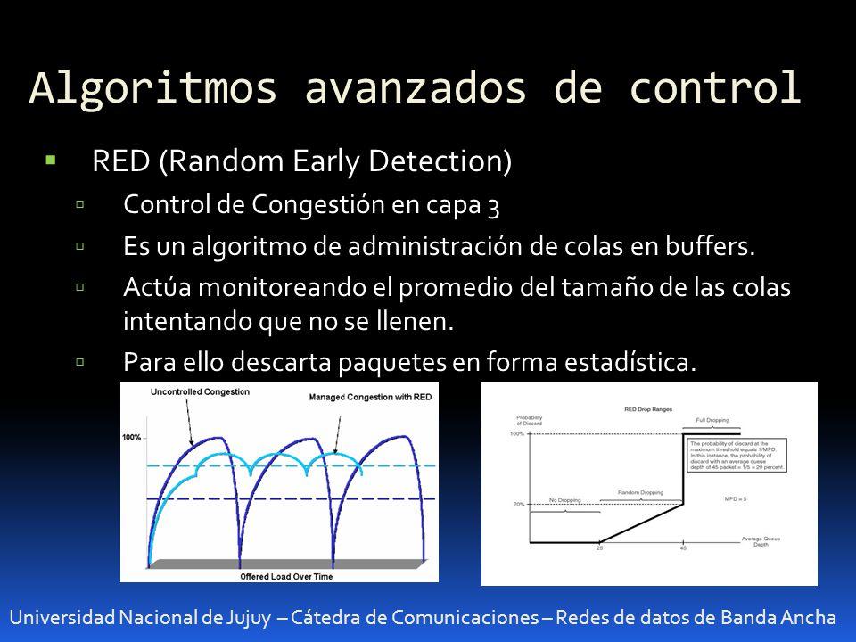 Algoritmos avanzados de control Universidad Nacional de Jujuy – Cátedra de Comunicaciones – Redes de datos de Banda Ancha WRED (Weighted Random Early Detection) Es similar a RED pero permite asignar diferentes umbrales a cada cola.
