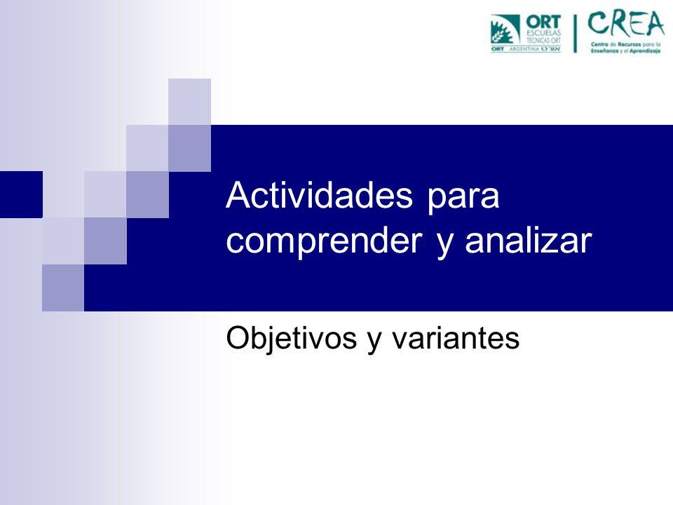 Actividades para comprender y analizar Objetivos y variantes