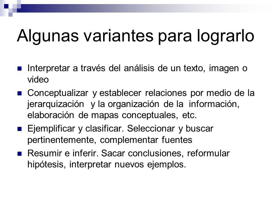 Algunas variantes para lograrlo Interpretar a través del análisis de un texto, imagen o video Conceptualizar y establecer relaciones por medio de la jerarquización y la organización de la información, elaboración de mapas conceptuales, etc.