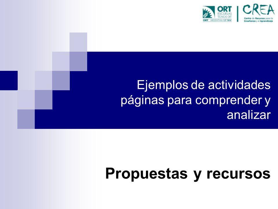 Ejemplos de actividades páginas para comprender y analizar Propuestas y recursos