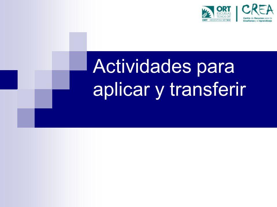 Actividades para aplicar y transferir