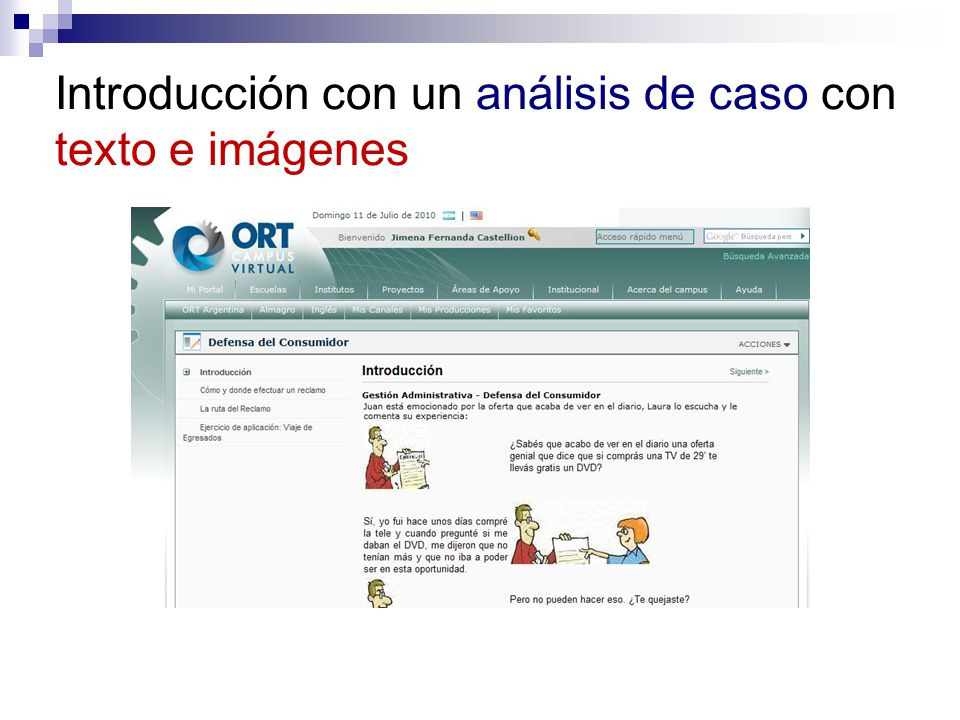 Introducción con un análisis de caso con texto e imágenes