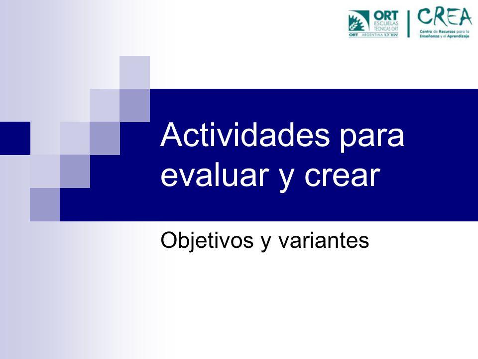 Actividades para evaluar y crear Objetivos y variantes