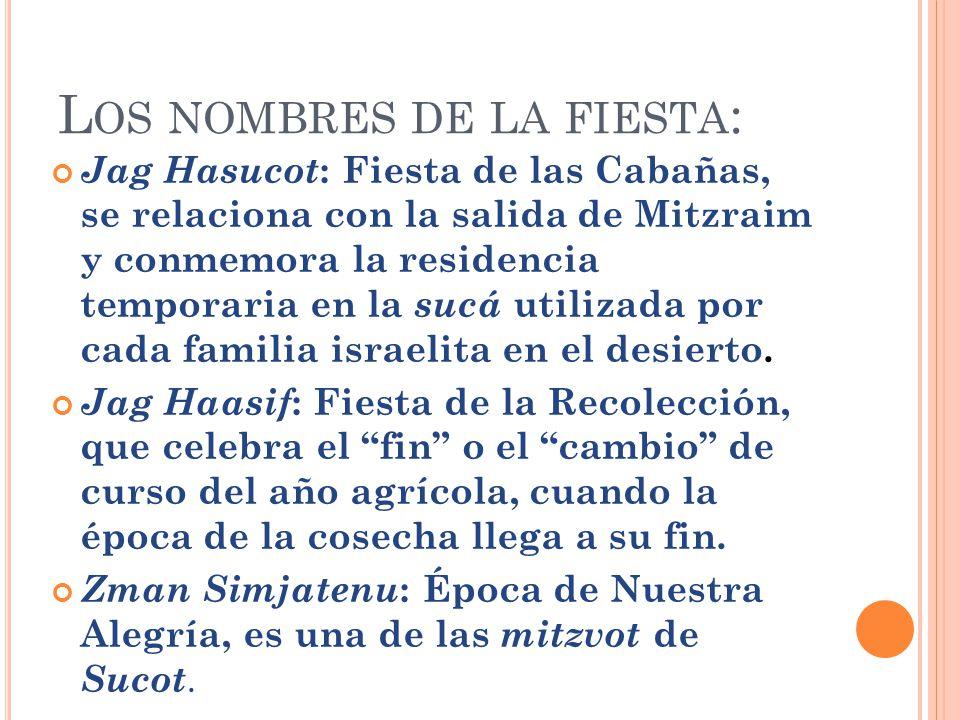 L OS NOMBRES DE LA FIESTA : Jag Hasucot : Fiesta de las Cabañas, se relaciona con la salida de Mitzraim y conmemora la residencia temporaria en la suc