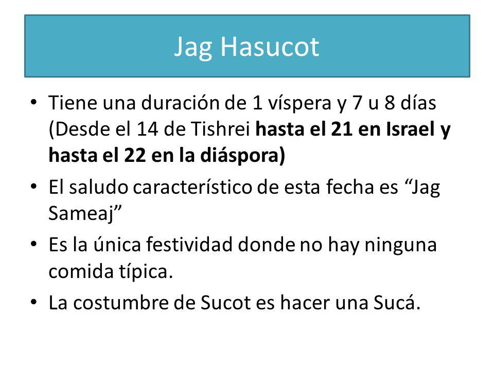 Jag Hasucot Tiene una duración de 1 víspera y 7 u 8 días (Desde el 14 de Tishrei hasta el 21 en Israel y hasta el 22 en la diáspora) El saludo caracte