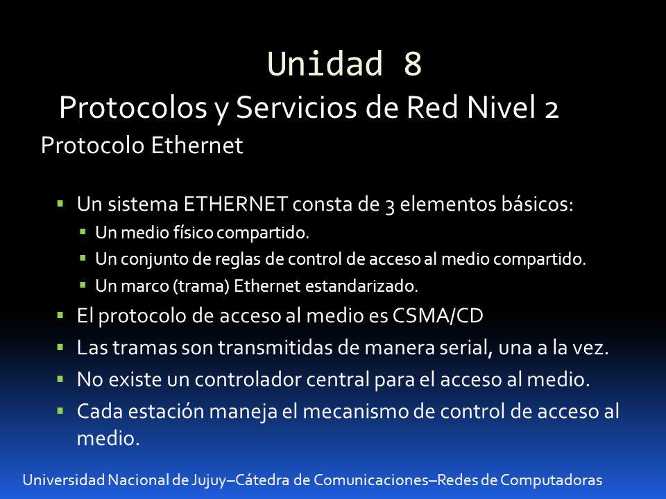 Unidad 8 Universidad Nacional de Jujuy–Cátedra de Comunicaciones–Redes de Computadoras Protocolos y Servicios de Red Nivel 2 Un sistema ETHERNET const