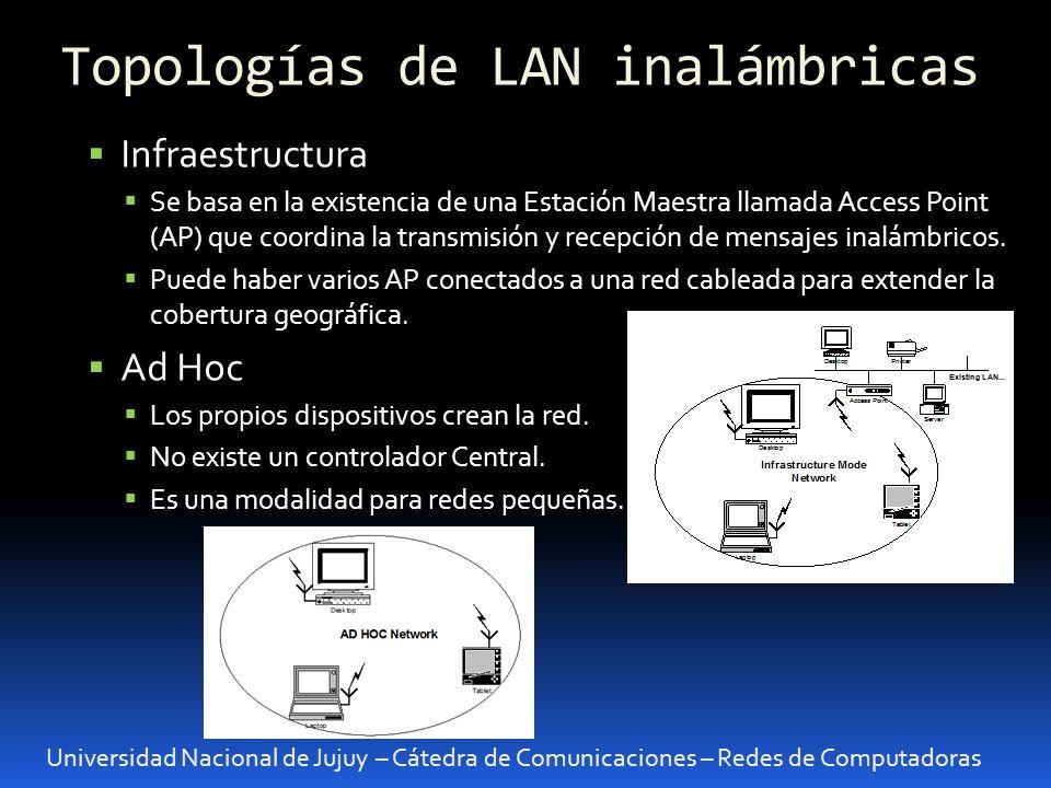 Universidad Nacional de Jujuy – Cátedra de Comunicaciones – Redes de Computadoras Infraestructura Se basa en la existencia de una Estación Maestra lla