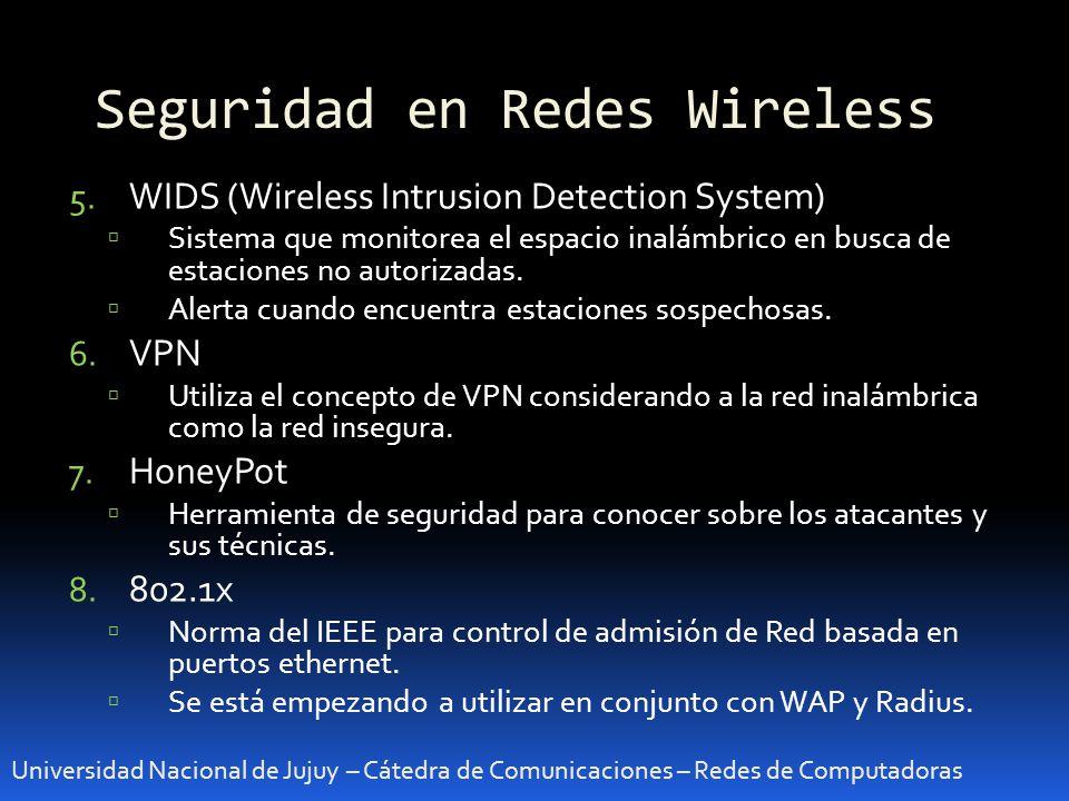 Seguridad en Redes Wireless Universidad Nacional de Jujuy – Cátedra de Comunicaciones – Redes de Computadoras 5. WIDS (Wireless Intrusion Detection Sy
