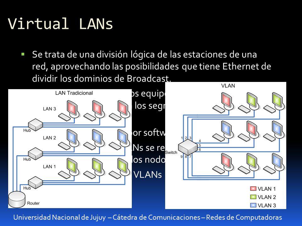 Virtual LANs Universidad Nacional de Jujuy – Cátedra de Comunicaciones – Redes de Computadoras Se trata de una división lógica de las estaciones de un