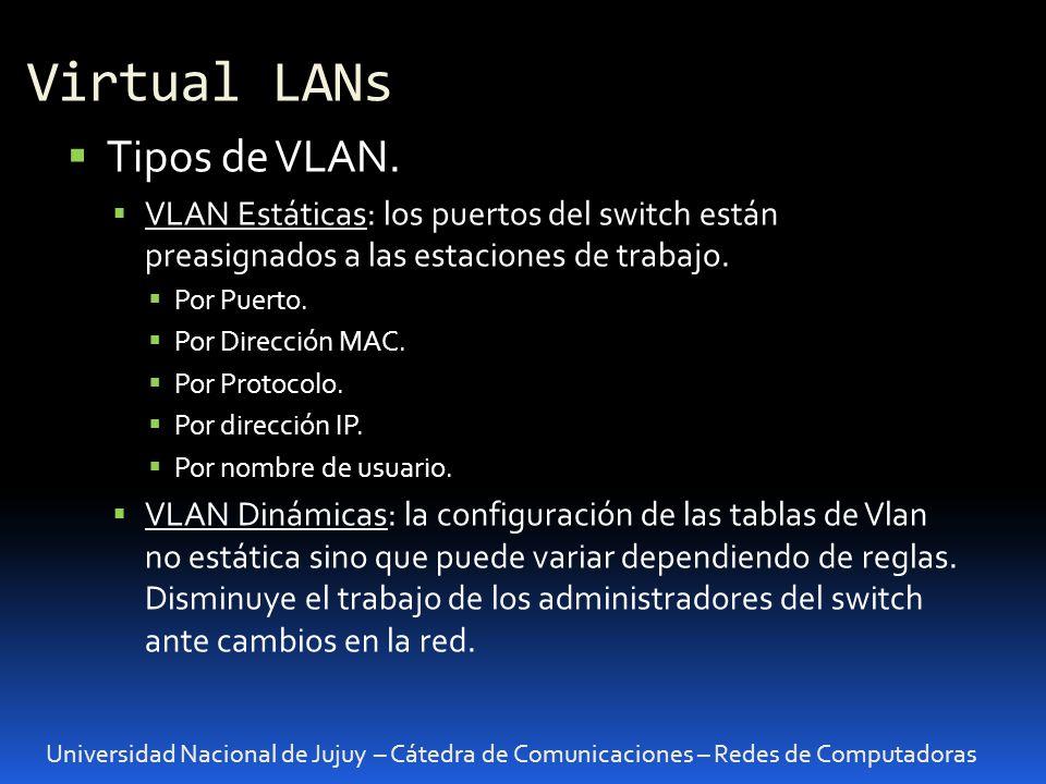 Virtual LANs Universidad Nacional de Jujuy – Cátedra de Comunicaciones – Redes de Computadoras Tipos de VLAN. VLAN Estáticas: los puertos del switch e