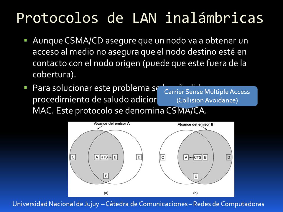 Universidad Nacional de Jujuy – Cátedra de Comunicaciones – Redes de Computadoras Aunque CSMA/CD asegure que un nodo va a obtener un acceso al medio n