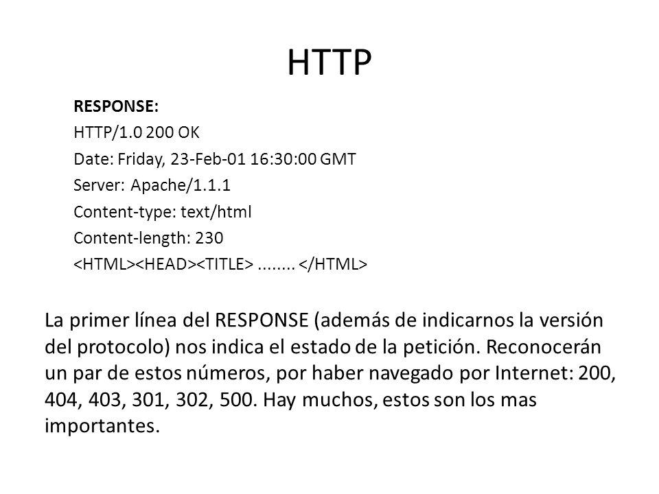 HTTP RESPONSE: HTTP/1.0 200 OK Date: Friday, 23-Feb-01 16:30:00 GMT Server: Apache/1.1.1 Content-type: text/html Content-length: 230........