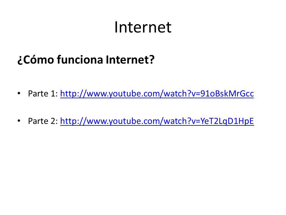 Internet ¿Cómo funciona Internet? Parte 1: http://www.youtube.com/watch?v=91oBskMrGcchttp://www.youtube.com/watch?v=91oBskMrGcc Parte 2: http://www.yo
