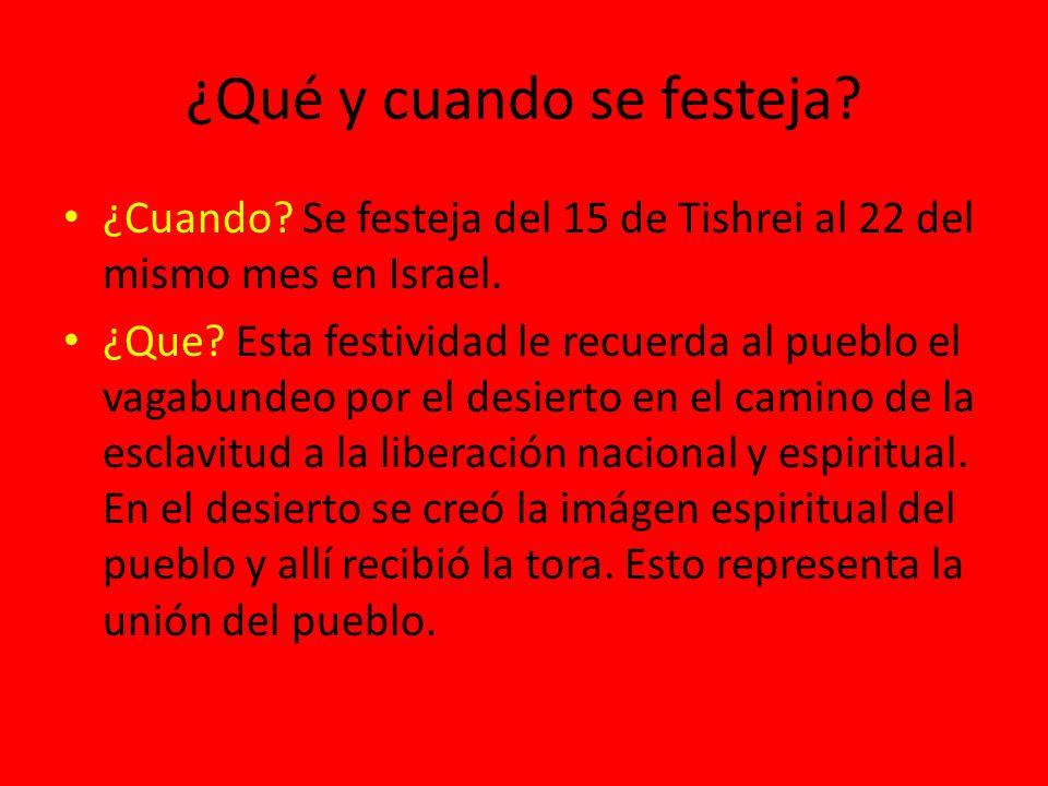 ¿Qué y cuando se festeja? ¿Cuando? Se festeja del 15 de Tishrei al 22 del mismo mes en Israel. ¿Que? Esta festividad le recuerda al pueblo el vagabund
