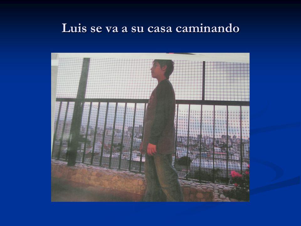 Luis se va a su casa caminando