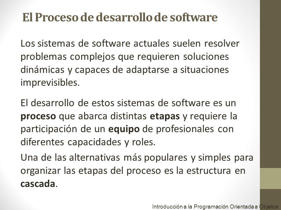 Introducción a la Programación Orientada a Objetos Los sistemas de software actuales suelen resolver problemas complejos que requieren soluciones diná