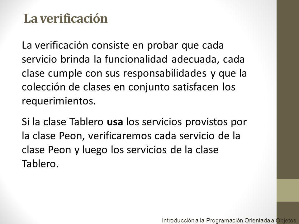 La verificación consiste en probar que cada servicio brinda la funcionalidad adecuada, cada clase cumple con sus responsabilidades y que la colección