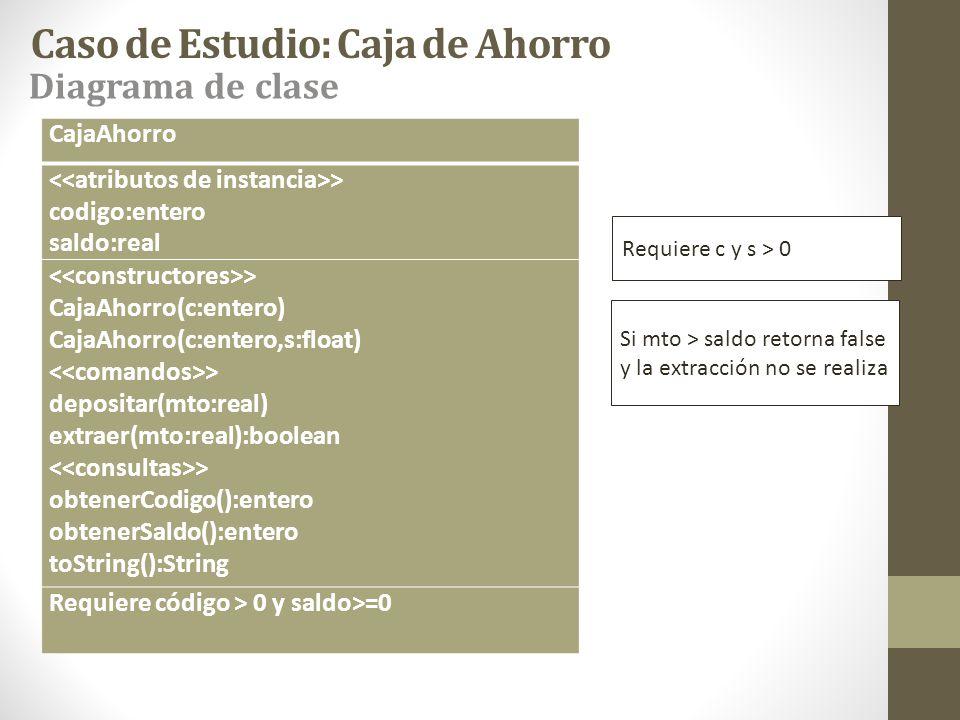 Caso de Estudio: Caja de Ahorro CajaAhorro > codigo:entero saldo:real > CajaAhorro(c:entero) CajaAhorro(c:entero,s:float) > depositar(mto:real) extrae