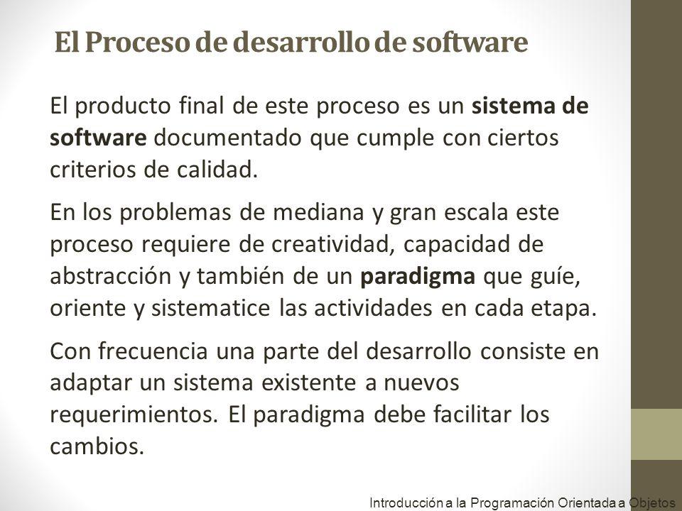Introducción a la Programación Orientada a Objetos El producto final de este proceso es un sistema de software documentado que cumple con ciertos crit