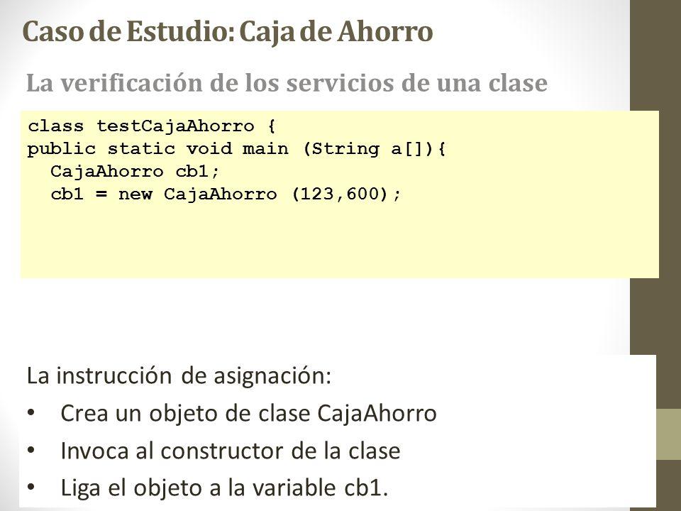 La instrucción de asignación: Crea un objeto de clase CajaAhorro Invoca al constructor de la clase Liga el objeto a la variable cb1. Caso de Estudio: