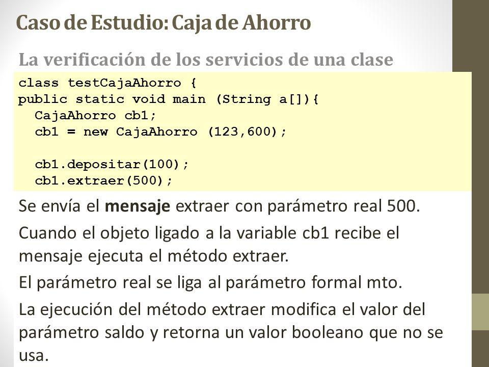 class testCajaAhorro { public static void main (String a[]){ CajaAhorro cb1; cb1 = new CajaAhorro (123,600); cb1.depositar(100); cb1.extraer(500); Se