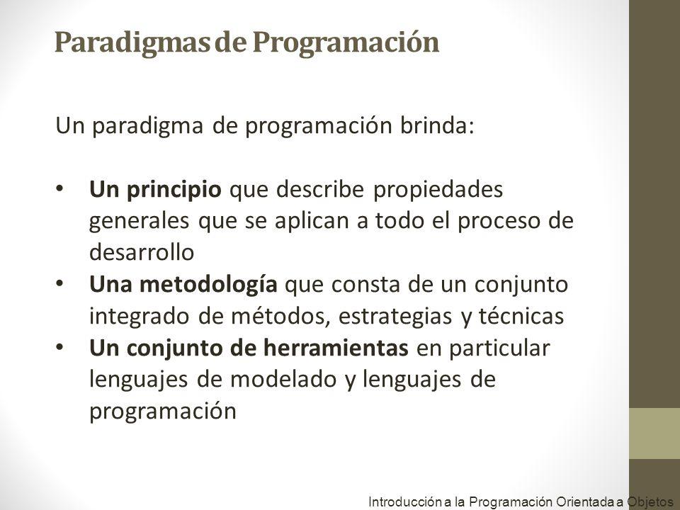 Introducción a la Programación Orientada a Objetos Un paradigma de programación brinda: Un principio que describe propiedades generales que se aplican