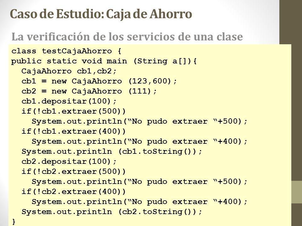 class testCajaAhorro { public static void main (String a[]){ CajaAhorro cb1,cb2; cb1 = new CajaAhorro (123,600); cb2 = new CajaAhorro (111); cb1.depos