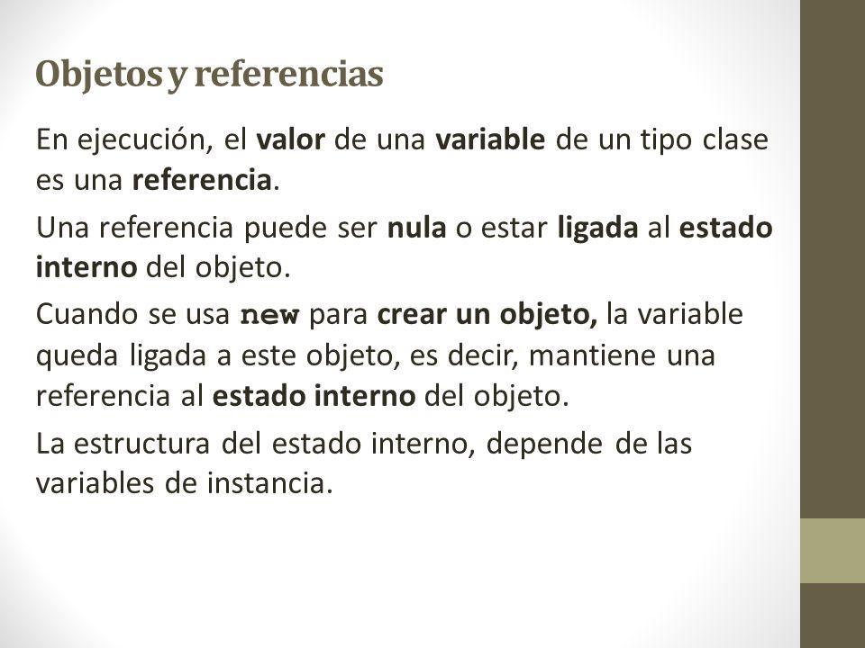 Objetos y referencias En ejecución, el valor de una variable de un tipo clase es una referencia. Una referencia puede ser nula o estar ligada al estad