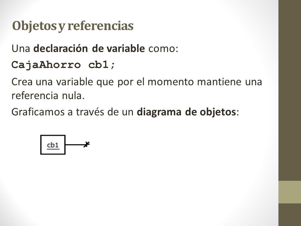 Objetos y referencias Una declaración de variable como: CajaAhorro cb1; Crea una variable que por el momento mantiene una referencia nula. Graficamos