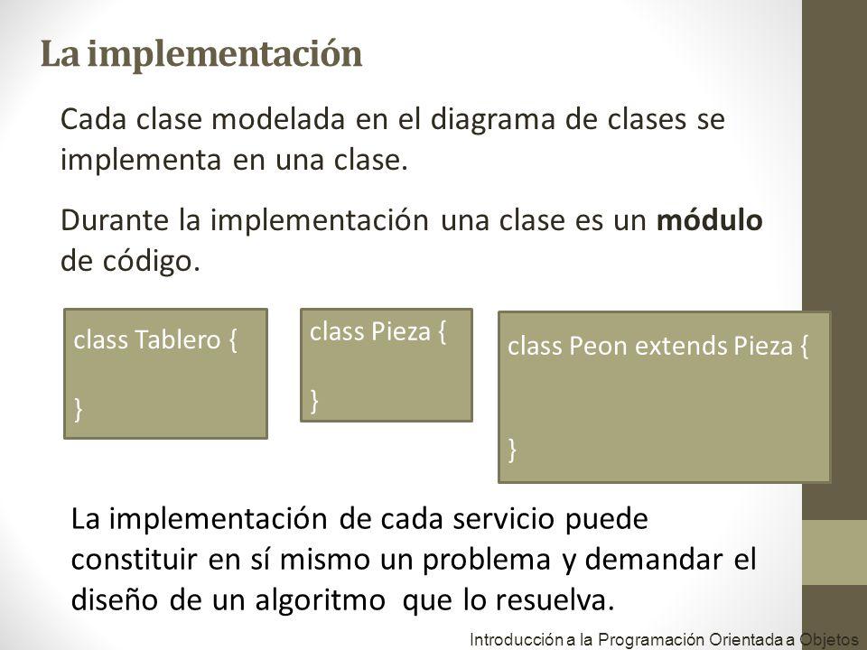 Cada clase modelada en el diagrama de clases se implementa en una clase. Durante la implementación una clase es un módulo de código. Introducción a la