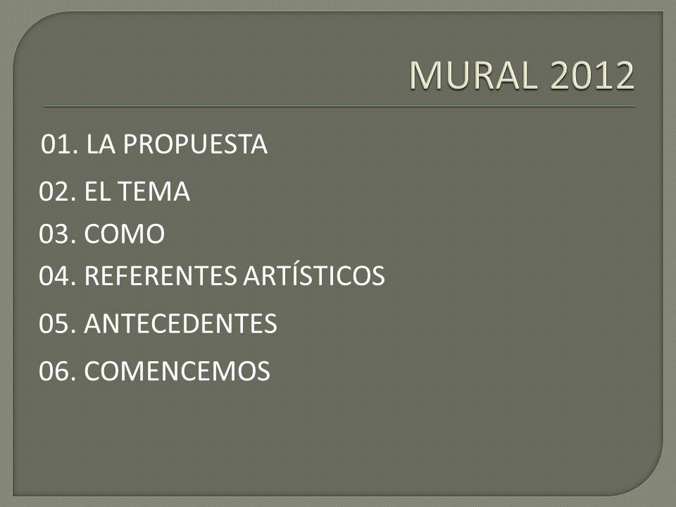 01. LA PROPUESTA 02. EL TEMA 03. COMO 04. REFERENTES ARTÍSTICOS 06. COMENCEMOS 05. ANTECEDENTES