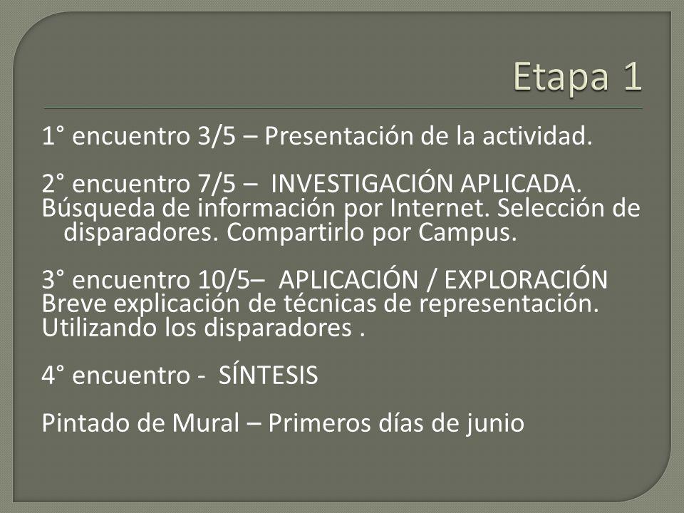 1° encuentro 3/5 – Presentación de la actividad.2° encuentro 7/5 – INVESTIGACIÓN APLICADA.