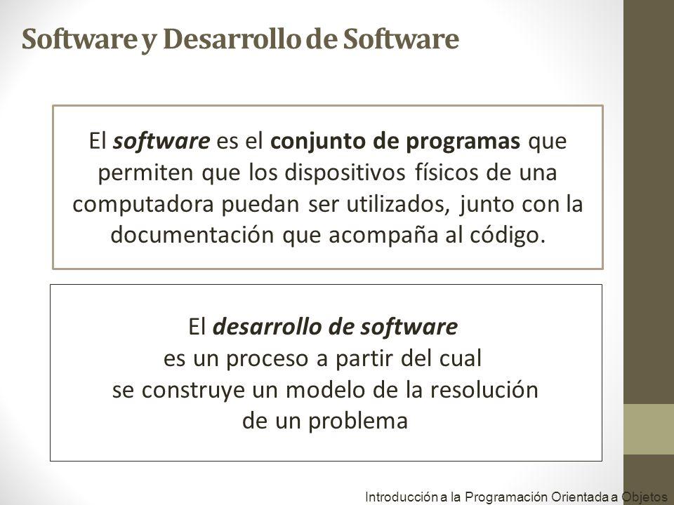 Introducción a la Programación Orientada a Objetos El software es el conjunto de programas que permiten que los dispositivos físicos de una computadora puedan ser utilizados, junto con la documentación que acompaña al código.