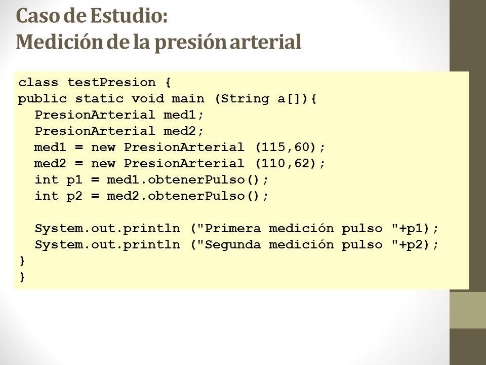 Caso de Estudio: Medición de la presión arterial class testPresion { public static void main (String a[]){ PresionArterial med1; PresionArterial med2; med1 = new PresionArterial (115,60); med2 = new PresionArterial (110,62); int p1 = med1.obtenerPulso(); int p2 = med2.obtenerPulso(); System.out.println ( Primera medición pulso +p1); System.out.println ( Segunda medición pulso +p2); }