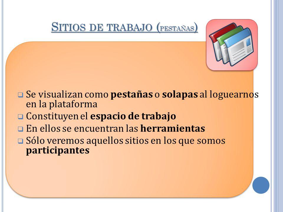 S ITIOS DE TRABAJO ( PESTAÑAS ) Se visualizan como pestañas o solapas al loguearnos en la plataforma Constituyen el espacio de trabajo En ellos se enc