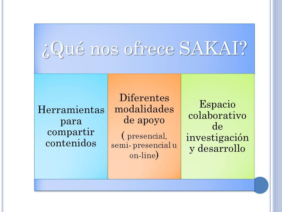 ¿Qué nos ofrece SAKAI? Herramientas para compartir contenidos Diferentes modalidades de apoyo ( presencial, semi- presencial u on- line ) Espacio cola