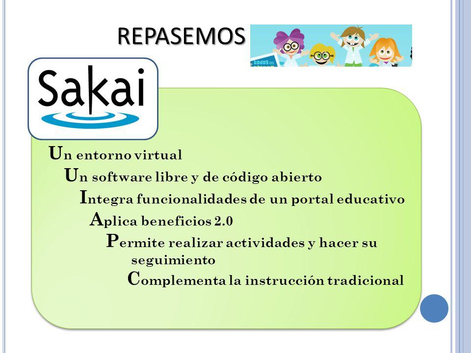 U n entorno virtual U n software libre y de código abierto I ntegra funcionalidades de un portal educativo A plica beneficios 2.0 P ermite realizar ac