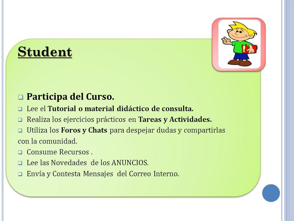 Student Participa del Curso.Lee el Tutorial o material didáctico de consulta.
