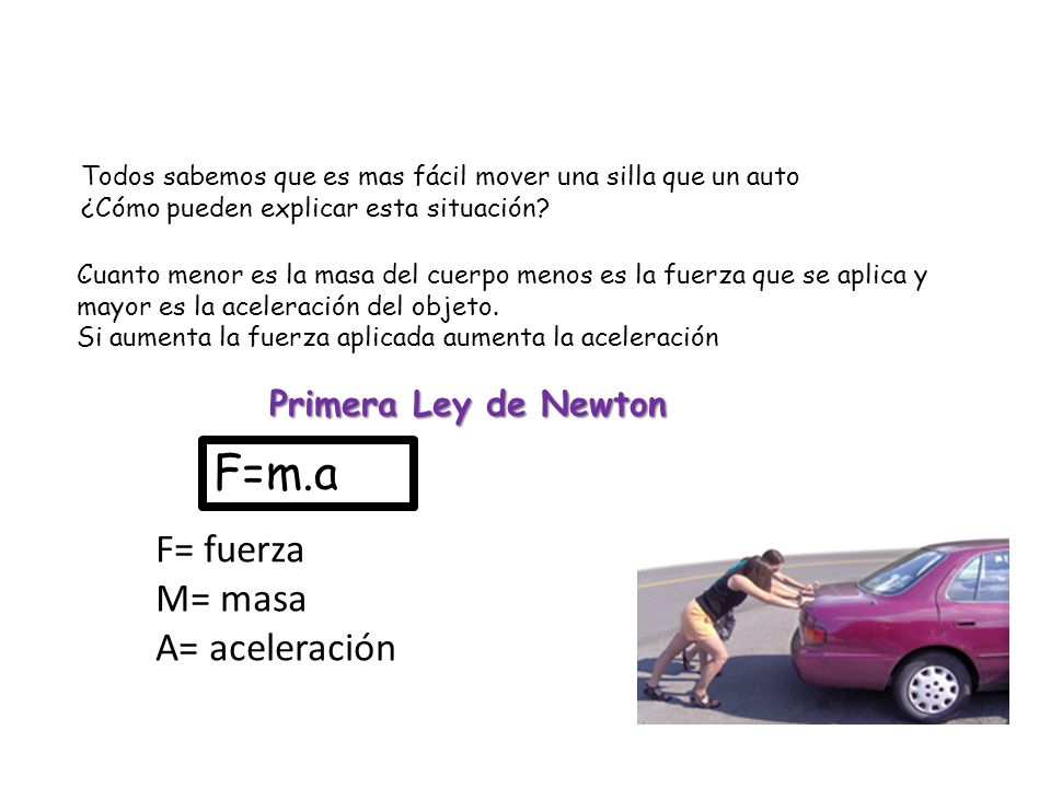 Unidades: M(masa)= Kg A= m/s² F= Kg. m/s² 1Kg. 1m/s²= 1N(Newton)