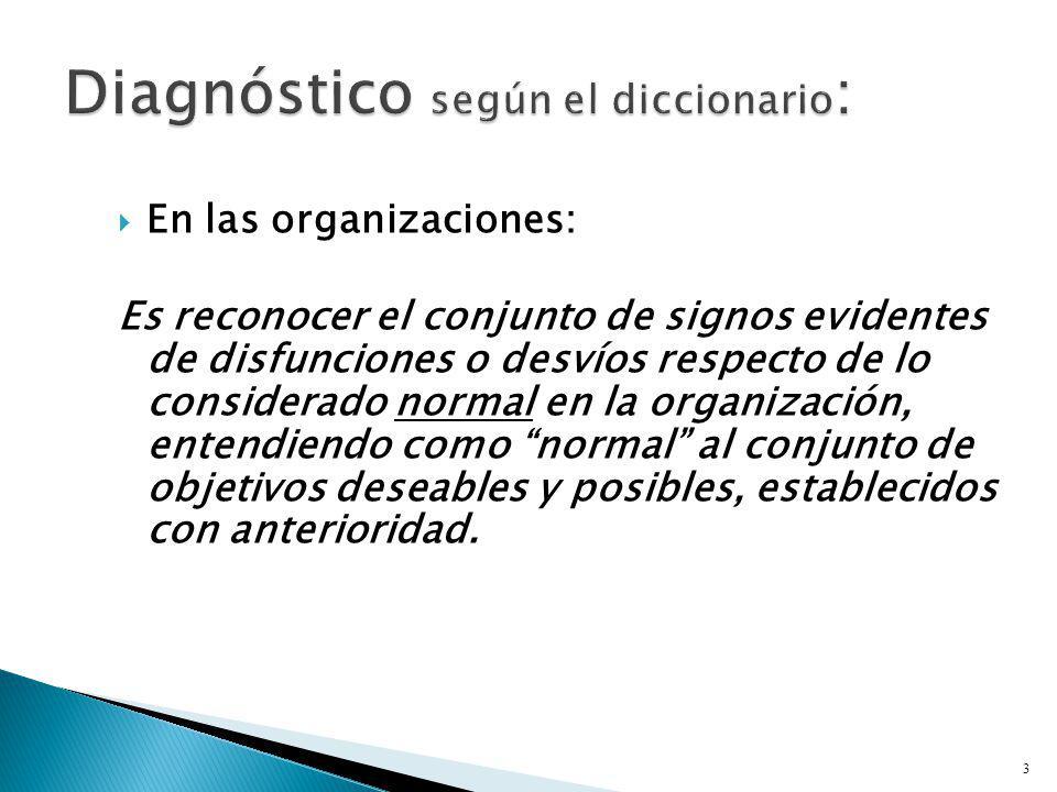 En las organizaciones: Es reconocer el conjunto de signos evidentes de disfunciones o desvíos respecto de lo considerado normal en la organización, en