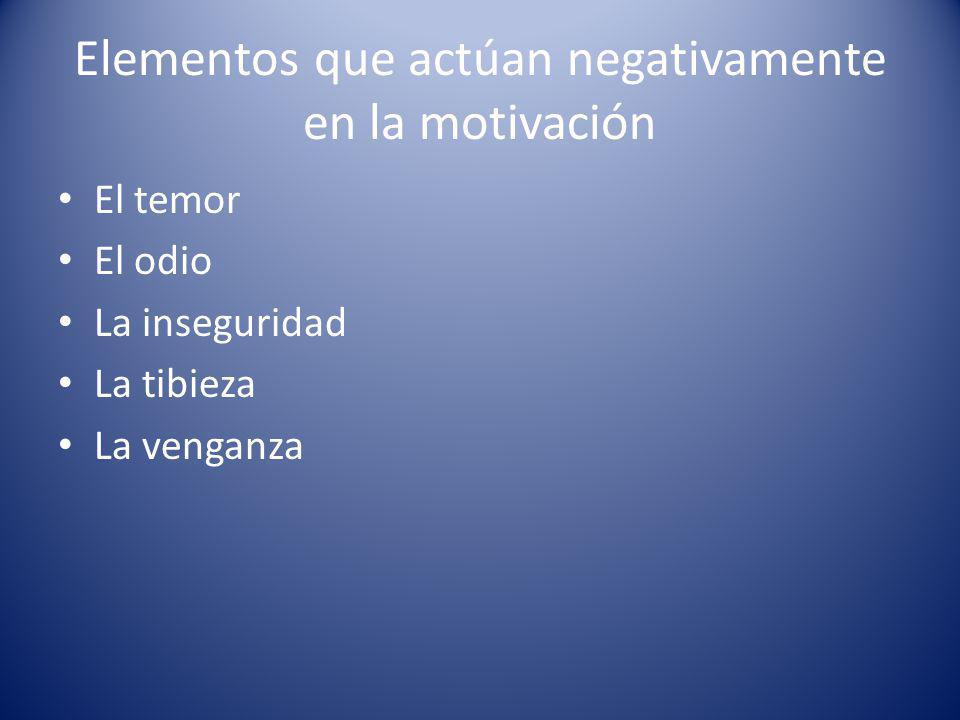 Elementos que actúan negativamente en la motivación El temor El odio La inseguridad La tibieza La venganza